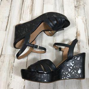 Clark's Artisan Black Floral Wedged Sandals Heels